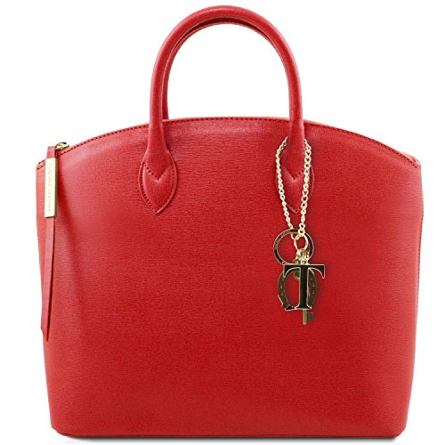 Tuscany Leather - Tl Keyluck - Handbag In Black Saffiano Leather - Tl141261 / 2 Red Lipstick