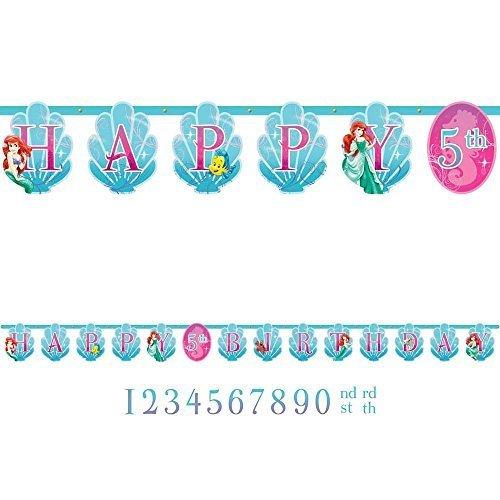 Disney Ariel Customizable Birthday Party Banner Decoration (1 Piece), Blue/Pink, 10 1/2'.
