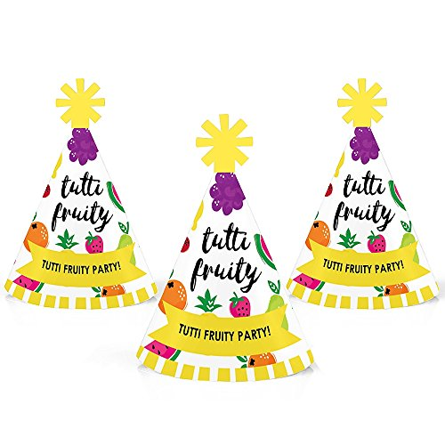 Tutti Fruity - Mini Cone Frutti Summer Baby Shower or Birthday Party Hats - Small Little Party Hats - Set of 10