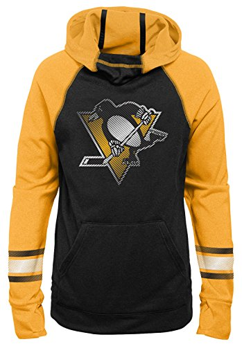Outerstuff NHL Pittsburgh Penguins Youth Girls Female Forward Funnel Neck Hoodie, Large(14), Black