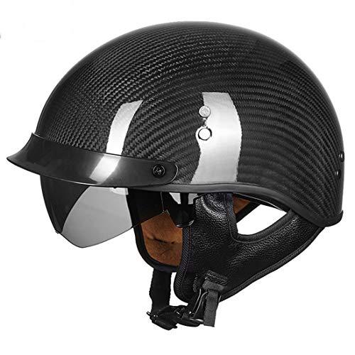 VCOROS Carbon Fiber Open Face Sun Shield Crusie Motorcycle Helmet (Gloss Black, - Carbon Face Fiber