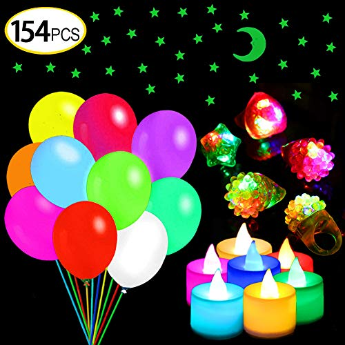 LED Balloons 154 pack Party Supplies for Kids Glow in The Dark Party Pack Party Favors for adult LED and Candles Light-up Rings and Star