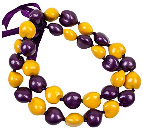 Barbra Collection Hawaiian Style Kukui Nut Lei Hand Painted Purple and Yellow 32 Nuts - Hawaiian Nut Necklace