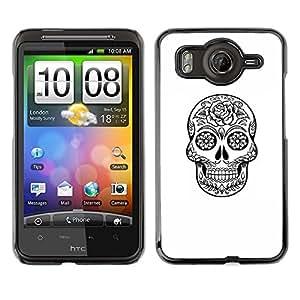 Shell-Star Art & Design plastique dur Coque de protection rigide pour Cas Case pour HTC Desire HD / G10 / inspire 4G( Death Skull Black White Ink Metal )