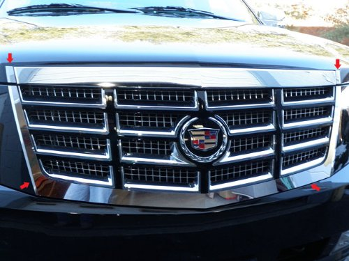 Cadillac Escalade Chrome Grille - QAA FITS ESCALADE 2007-2014 CADILLAC (4 Pc: Stainless Steel Grille Surround Accent Trim, 4-door, SUV, Does NOT fit Premium Model) SG47255