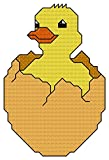 Hatching Duck cross stitch pattern/ chart: Contains whole/ half and back stitch suitable for putting in cards/ frames etc.