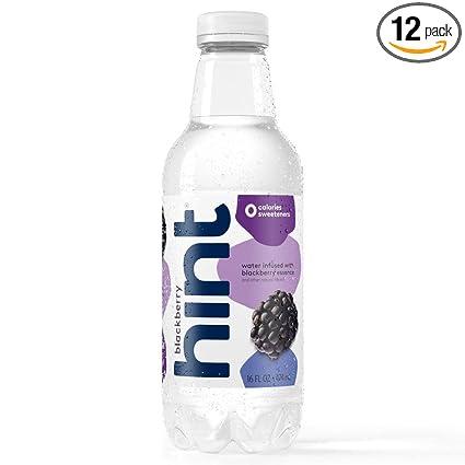 Hint Water Blackberry, (Pack of 12) 16 Ounce Bottles, Pure Water Infused with Blackberry, Zero Sugar, Zero Calories, Zero Sweeteners, Zero