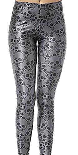 Christal Town Women's Soft Halloween Skulls Regular and Plus Leggings Pants F-Skulls-2 One Size (Size 0-12 ()