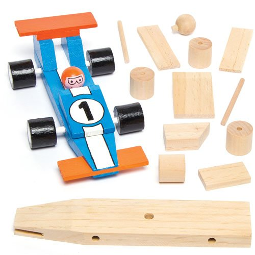 Wooden Racing Car Craft Kits for Children to Assemble Decorate and Give as Father's Day Gift (Pack of 2) (Kits Racing 2)