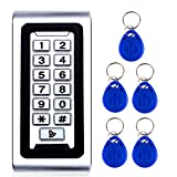 AMOCAM Door Access Control System Stand-Alone Password Keypad + 5PCS Proximity RFID 125Khz Key Fobs Keychains, Support 2000 Users ID Card Reader, Waterproof, Backlight, Zinc Alloy Metal Case