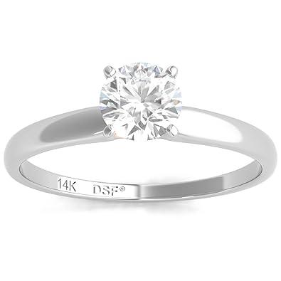 8cda7202f7766 Diamond Studs Forever - Anillo compromiso diamante solitario de 1 2  quilates GH I1-I2 oro blanco 14K  Amazon.es  Joyería
