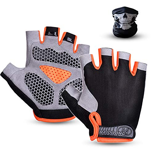 Half Finger Cycling Gloves for Men and Women Bike Bicycle Motorcycle Gloves Foam Pad Shockproof Breathable Anti-Slip Mountain Riding Gloves Outdoor Sports Workout Gloves