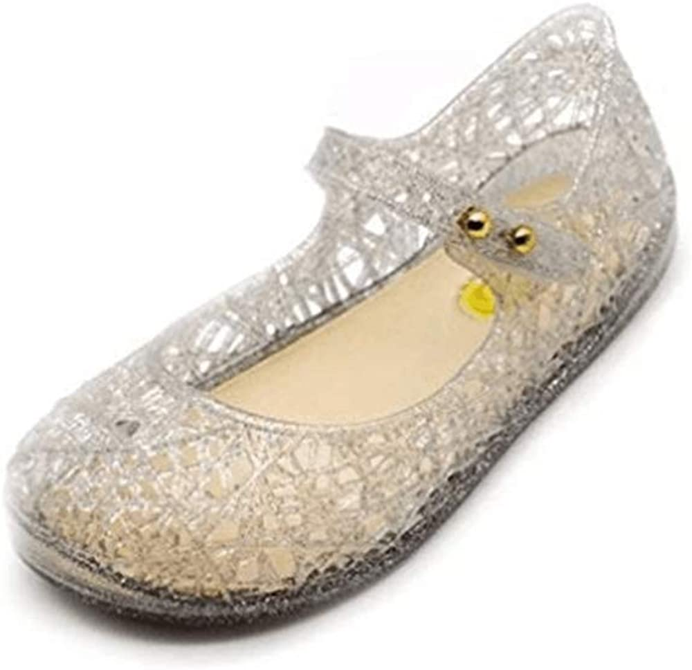 Qinyue.JF Baby Girl Sandals Flat Shoes Soft Crystal Plastic Childrens Princess Shoes