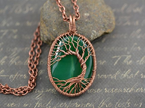 Green Agate Tree-Of-Life Necklace Wired Copper Pendant Wire Wrapped Jewelry Copper Jewelry Family Tree Rustic Amulet Agate Jewelry ()