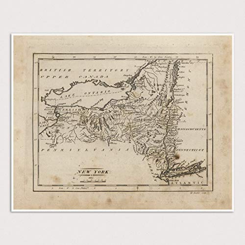 Old New York State Map Art Print, 1816, Archival Reproduction, Unframed