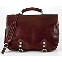 Alberto Bellucci Italian Leather Messenger Satchel Bag Double Compartment Laptop Bag, Made in Italy by Alberto Bellucci