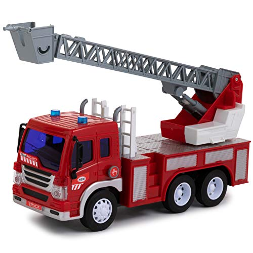 - Toy To Enjoy Fire Engine Truck Toy with Light & Sound Effects - Friction Powered Wheels & Extendable Ladder - Heavy Duty Plastic Vehicle Toy for Kids & Children - Emergency Rescue Vehicle