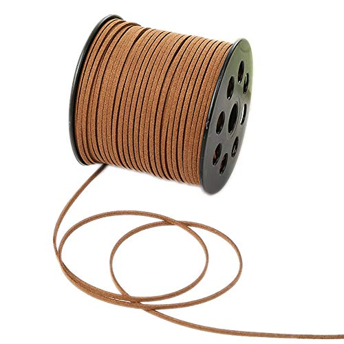 100 Yards Faux Suede Lace String Soft Beading Cord Thread Velvet Ribbons for Bracelet Necklace Jewelry Making Embellishment Trimming (Chocolate)