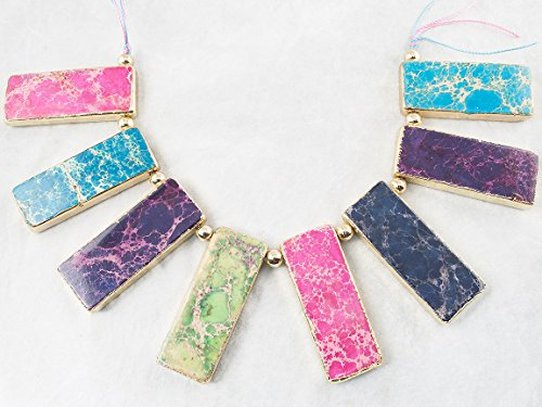 Beads Ok, DIY, Imperial Jasper, Multi-colour, Color Enhanced, 20x50mm Flat Rectangle Necklace Semi-precious Gemstone Pendant, 8 Pieces a Strand. (Please click to see other (Mtc Multi Color)