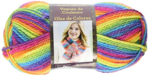 Lion Brand Yarn 595-216 Color waves Yarn, Rainbow