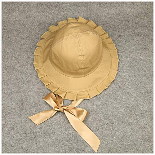 58 Dark Khaki Color - UNBRACE Sun HatsWomen'sSolid Color Ruffled Long StreamerKhaki_M (56-58cm) Bucket capsFishing Beach