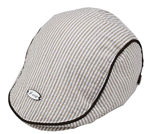 Baby Newsboy-Cap Striped Beret - Toddlers Cotton Gatsby Ivy Cabbie Flat Cap for 1-3 Years (Light Coffee, ()