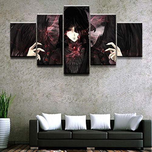 Wslin muurkunst modulaire afbeeldingen Home decoratieve Hd gedrukte abstracte poster 5 stuks anime rol canvas schilderij afdrukken op canvas 150X80cm