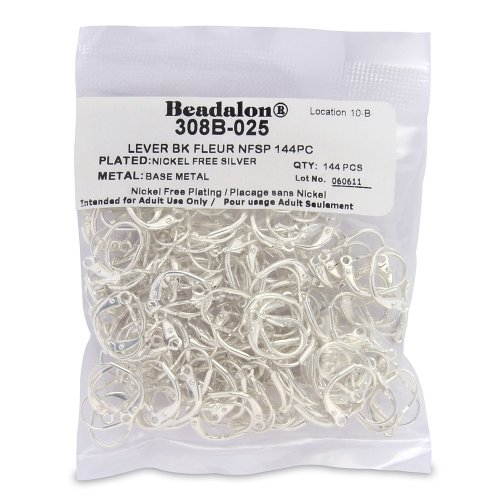 Artistic Wire Beadalon 144-Piece Fleur Lever Back, Nickel Free Silver Plate