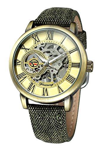 Mechanical Stainless Steel Wrist Watch - Bestn Men's Hand-Wind Mechanical Wrist Watch Skeleton Design Stainless Steel Band Roman Numeral