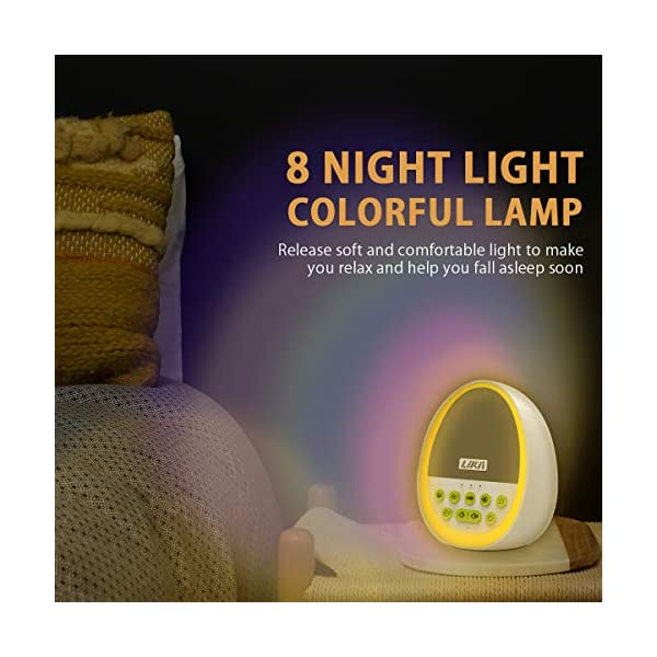 Likii White Noise Machine, Baby Night Light, 29 Sounds with 8 Colour Nightlight, Compact and Cute Egg Shape for Baby Sleep, Portable Rechargeable Sound Machine …