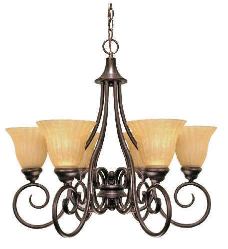 (Nuvo Lighting Moulan 6-Light Chandelier with Fluted Cream Bell Shades, Copper Bronze)