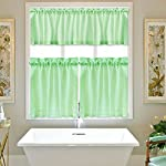 IdealHouse Waffle Woven Textured Short Tier Curtains for Bathroom Water Repellent Window Covering for Kitchen
