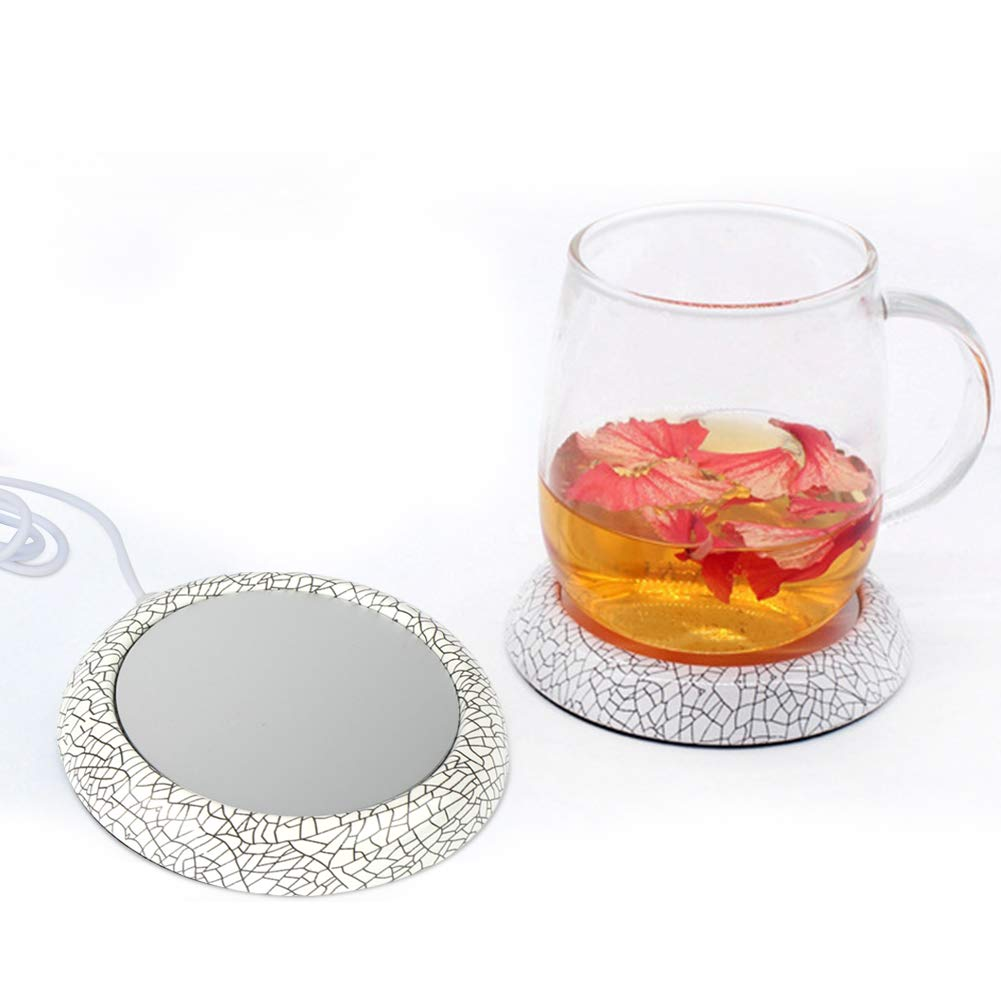 Merssyria USB Cup Mat, Tea Warmer Pad Coffee Mug Warmer Heating Coaster USB Heating Coaster with Black Silicone Cup Cover for Tea Water Coffee