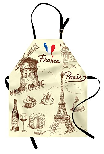 Lunarable Eiffel Tower Apron, Patisserie Restaurant Drink Traditional Food Cheese Tasty Menu Sketchy Doodles, Unisex Kitchen Bib Apron with Adjustable Neck for Cooking Baking Gardening, Sepia Tan