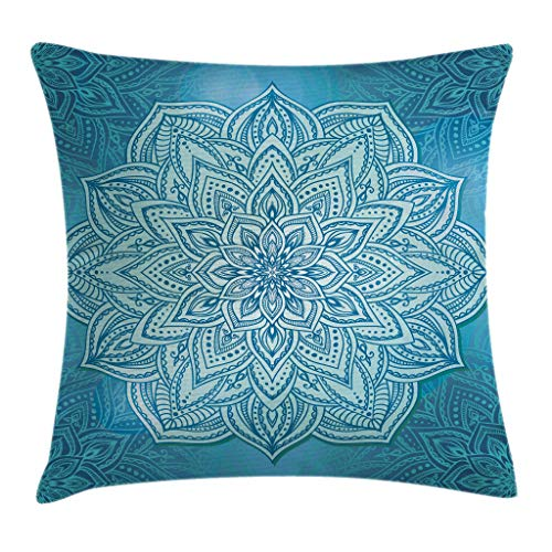 Lotus Cushion Cover - Mandala Decor Throw Pillow Cushion Cover by Ambesonne, Vibrant Oriental Indian Lace Lotus Plant Motivational Zen Spiritual Decor , Decorative Square Accent Pillow Case, 18 X18 Inches, Teal Blue