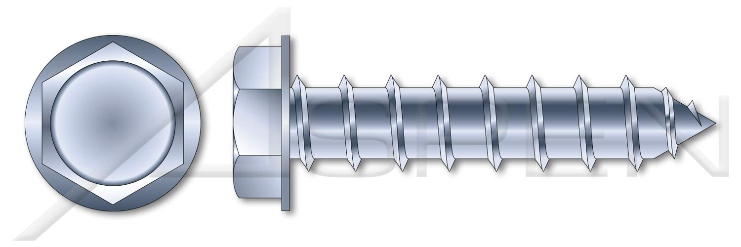 (1000 pcs) 5/16'' X 2'', Self-Tapping Sheet Metal Screws, Type''A'', Hex Indented Washer, No Slot, Steel, Zinc Plated