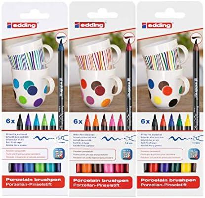 edding 4200 Porzellan Pinselstift (auch für Glas und Keramik) (1 Komplett-Set)