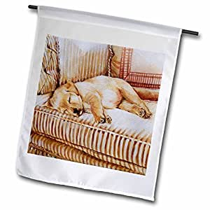 3dRose fl_44570_1 Little Yellow Lab Puppy Sleeping in The Sun on a Golden Striped Couch Garden Flag, 12 by 18-Inch