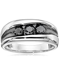 Men's Sterling Silver Black Diamond Gent's Ring (1cttw), Size 10
