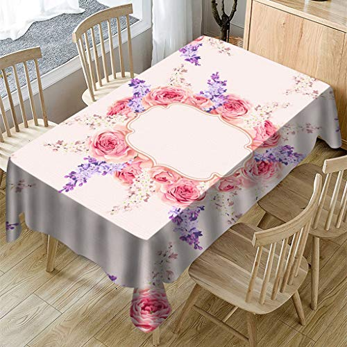 MaxFox Valentine's Day Tablecloth Rose Print Rectangle Anti-ash and Protecting Table Cover for Holiday Party Home Dining Table Decor (E, 140x140cm) - Loveseat Ash Room Living