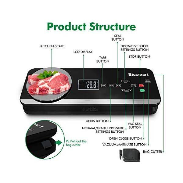 Macchina Sottovuoto per Alimenti Automatica Blusmart 80Kpa Macchina Sigillatrici con bilance da cucina integrate e… 2
