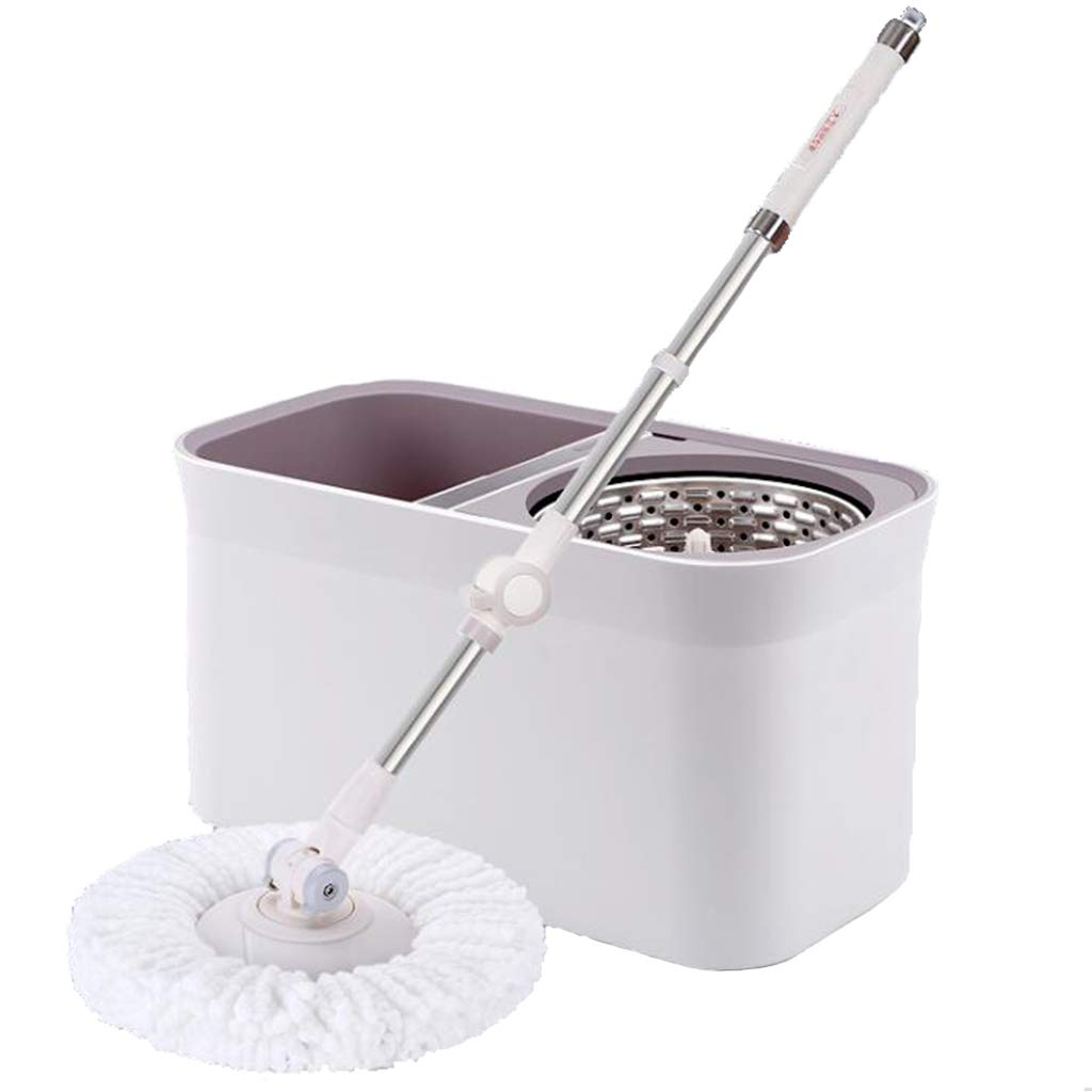 Happy Time MOP Rotating MOP Bucket Home Automatic mop Good god mop Free Hand wash Dry and Wet Dual use mop Suitable for Home School Office, etc,White