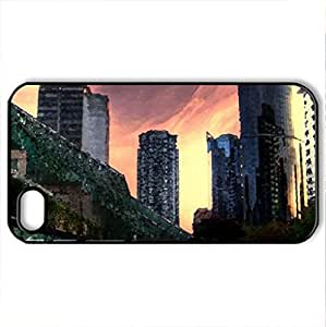 skyscrapers from civic center hdr - Case Cover for iPhone 4 and 4s (Skyscrapers Series, Watercolor style, Black)