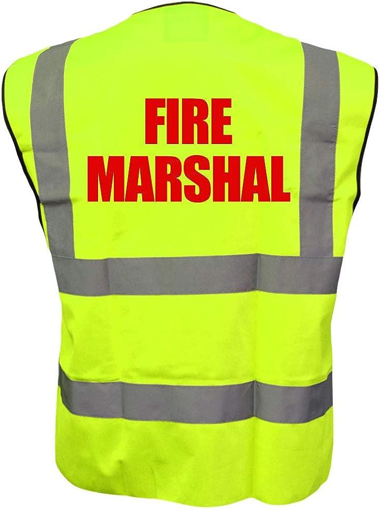 Printed By Brook Hi Vis Fire Marshal Yellow High Visibility Hi Vis Viz Vest Safety Waistcoat