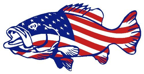 4″ Printed american flag bass patriotic fishing vinyl decal sticker for any smooth surface indoor or outdoor use.