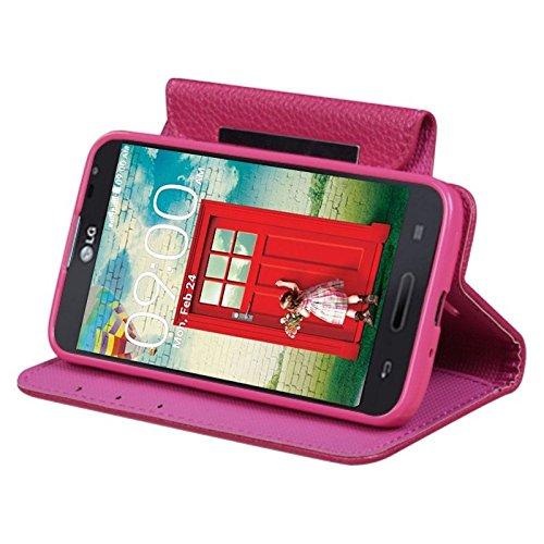 MyBat My Jacket Wallet Case for LG MS323 Optimus L70 - Retail Packaging - Hot Pink