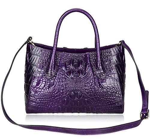 Handbags Satchel Top Women 5002a PIJUSHI Handle Bags Bag Crocodile Women Violet for a5TwYgq