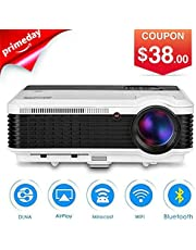 EUG 3600 Lumen LCD HD Wireless Bluetooth Projector Wxga Support 1080P Airplay APPs, HDMI Multimedia Android Projectors Home Theater for Backyard Movies TV Sports Gaming Blu Ray DVD SmartPhone