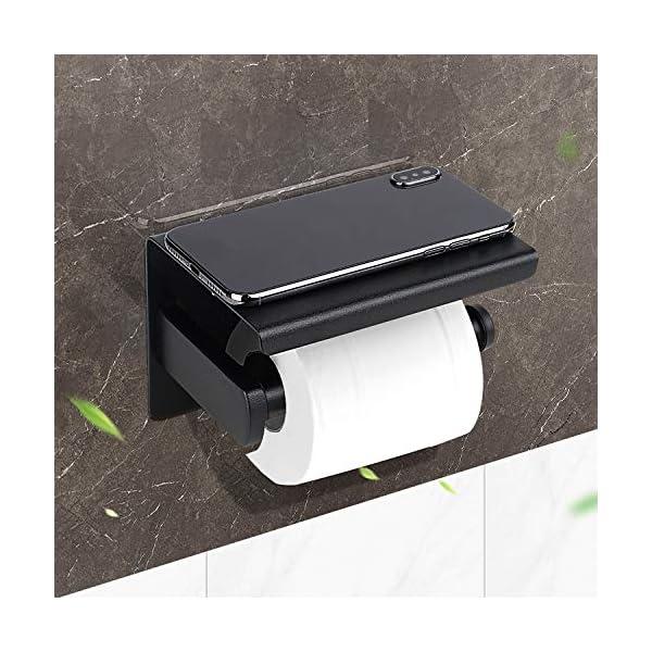51c0DucMcLL HIRALIY Toilettenpapierhalter Schwarz ohne Bohren, Klopapierhalter Edelstahl, 2 Stück Selbstklebend Haken, Rostfrei, Für…