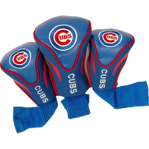 Team Golf MLB Chicago Cubs Contour Golf Club Headcovers (3 Count), Numbered 1, 3, & X, Fits Oversized Drivers, Utility, Rescue & Fairway Clubs, Velour lined for Extra Club Protection (Chicago Cubs Golf)